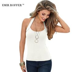 4bae5a3fa362d EMIR ROFFER 2018 Summer Halter Top Female Women Sexy Sheath Sleeveless  Backless Tank Tops Simple White