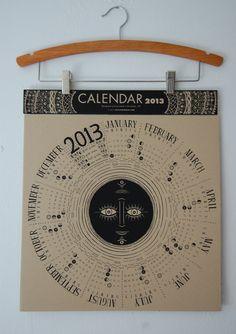 2013 Circular Lunar Calendar. $20.00, via Etsy.