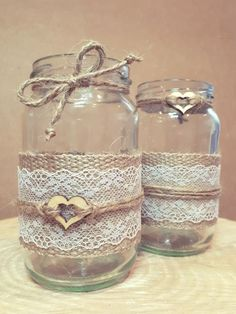 6 BRAND NEW mixed wedding jars centrepiece vase tealight rustic lace hessian