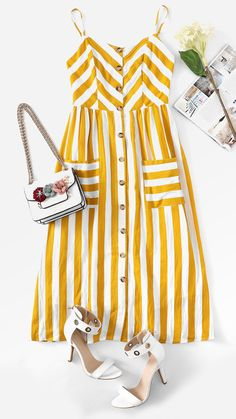 Striped Spaghetti Strap High Waist Mid-Calf Dresses Source by meernaiaa dress Look Fashion, 90s Fashion, Korean Fashion, Girl Fashion, Fashion Dresses, Fashion Hacks, Classy Fashion, School Fashion, French Fashion