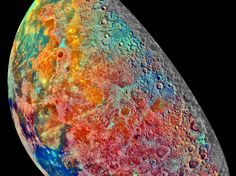 Nanoparticles in Moon Glass May Solve Topsoil Mystery. An mosaic of 53 images of the moon recorded by the Jupiter-bound Galileo spacecraft to explore the composition of the lunar surface as changes in mineral content produce subtle color differences in reflected light. (NASA/JPL)
