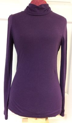J. Crew Solid Purple Tissue T Shirt Turtleneck Long Sleeve Layering Top Sz Small #JCREW #Turtleneck