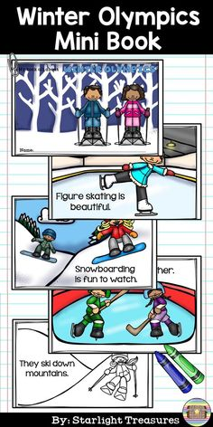 Your students will love completing this Winter Olympics 2018 mini book. This mini book is for early readers: Pre-k, Kindergarten and 1st Grade. This Winter Olympics mini book lets students read easy words and pair them with the scene on the page. Students can color in the pages for some fun!