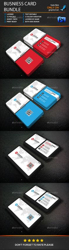 Business Card Bundle — Photoshop PSD #latest template #clean • Available here → https://graphicriver.net/item/business-card-bundle/17293259?ref=pxcr