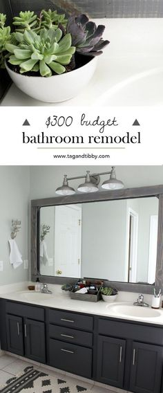 check out this mast bathroom remodel for $300! SW Sea Salt walls with SW Peppercorn cabinets