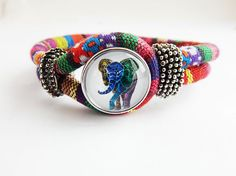 African Elephant Bracelet Fabric Jewelry African Bracelets Colorful Cute Snap Jewelry Ginger Charm Snap Bracelet African Fashion Print by TheBlackerTheBerry