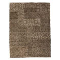 Damask Patchwork Wool Rug in Golden Khaki  www.atkinandthyme.co.uk