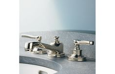 """RH's Asbury 8"""" Widespread Faucet:Asbury features knurling details and classic lines that speak to high function and substance."""