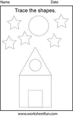 Free printable preschool worksheets - This one is trace the shapes