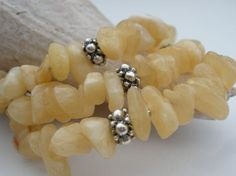 Golden calcite and sterling silver finished wrap bracelet