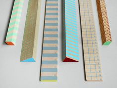 Striped Wooden Rulers Come to ruler heaven with us, it's so easy to get there. Screen printed, stripy wooden rulers in various colours & lengths. Each also has a contrasting coloured end. Fully marked with centimetre units
