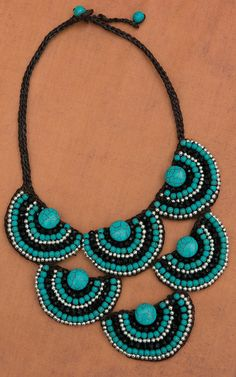 Pannee Turquoise Stone & Black Beaded Half Circle Statement Necklace