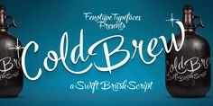 Ad: Cold Brew font trio +extras off by Fenotype on Cold Brew is a swift brush script family of three weights and a set of extras. Cold Brew is based on hand drawn letters polished with care Brush Script, Business Brochure, Business Card Logo, Vintage Fonts, Creative Fonts, Custom Fonts, Cold Brew, Watercolor And Ink, Brewing