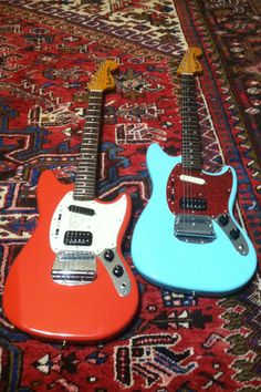 Red - Blue Kurt Cobain Fender Mustang Guitars. Nirvana.