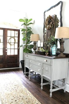 Wonderful Ideas: Living Room Remodel On A Budget Crown Moldings living room remodel on a budget crown moldings.Living Room Remodel Before And After Diy livingroom remodel house.Living Room Remodel With Fireplace Painted Bricks. Front Entryway Decor, Entryway Mirror, Entry Foyer, Entrance Hall, Entrance Ideas, Living Room Remodel, Home Living Room, French Country Living Room, Country Kitchen