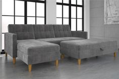 """In need of a practical and stylish sofa? The Hartford Storage Sectional Futon is the perfect small space solution. Available in Black Faux Leather upholstery or Grey Chenille, this futon is a comfy yet space saving piece that will nicely compliment your living room. Enjoy its multi-functional features that allow you to easily interchange the futon and chaise as well as convert the sofa into a bed with just the sound of a """"click-clack"""". Brilliant decorating for even the tiniest places!"""