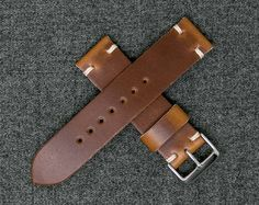 Leather Watch Strap | Horween Leather Whiskey Cavalier Watch Band | The Hudson Strap