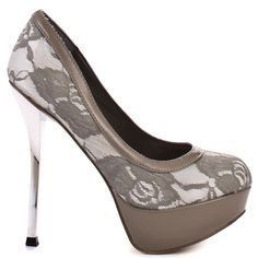 This smoldering pump will have you radiating your vixen side.  Cece from Baby Phat is a modern 5 inch pump with a slice of edge.  A soft ivory fabric has a lace overlay covering the upper and 1 1/4 inch platform.  A chic beige patent trim completes this wearable stiletto.