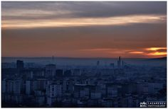 Morning view over city - A new day in the city. Morning view over the city.
