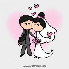 Cartão de casamento dos desenhos animados Vetor grátis