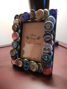 4 X 6 Beer Bottle Cap Embelished Frame  by pillowperfect23 on Etsy, $15.00