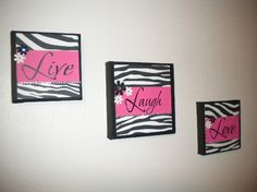 Pink and Zebra Live Laugh Love wall hanging by ItzAGirlThingCA, $13.00