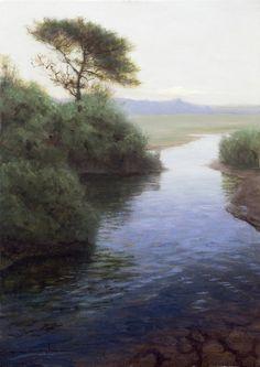 """Thomas Kegler, """"Slow Waters - Psalms 1:3 """" 13x20 oil on linen"""
