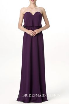 b0614ec2f65c Feminine Violet Chiffon Peplum Strapless Sweetheart A-line Long Bridesmaid  Dress