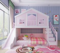 made to order pink tree house bunk bed with slide and stairs – tree Little Girl Bedrooms, Bed For Girls Room, Cool Kids Bedrooms, Kids Bedroom Designs, Room Design Bedroom, Kids Room Design, Bed Design, Girl Room, Girls Bedroom