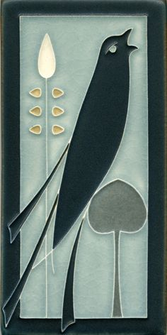 Songbird Facing Right in Grey Blue, Motawi Tileworks