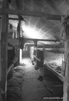 Inside of brick barrack at Sector BI in KL Auschwitz II-Birkenau. (Auschwitz-Birkenau State Museum Archives)