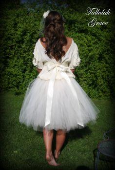 Ivory Adult Tutu, Wedding Tutu, Prom, Vintage Wedding, Sewn Tutu Skirt with Satin Ribbon Sash. $135.00, via Etsy.