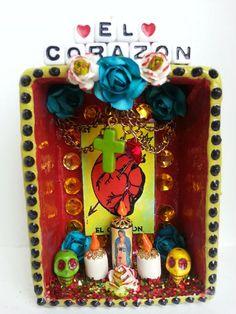 loteria dia de los muertos corazon heart shrine via Etsy