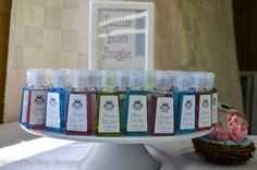 "Owl Baby Shower, ""Sanitize Before Snuggles,"" hand sanitizer favors"