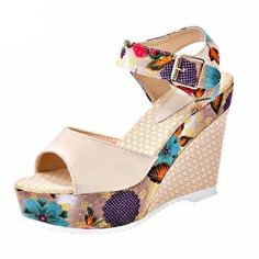 477ca0c53fa Sexy High Wedge Heel Thick Crust Flower Sandals  SandalsHeels Womens Summer  Shoes