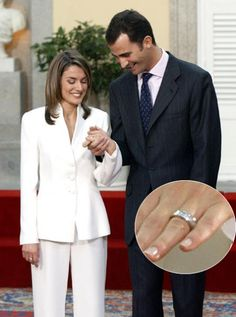 The only son of King Juan Carlos and Queen Sofia of Spain, Felipe, Prince of Asturias, asked for the hand of former journalist Letizia Ortiz Rocasolano in 2003 with a 16 baguette diamond ring with a white gold trim.