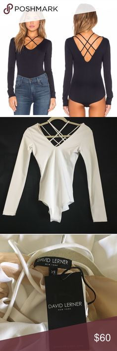 "WHITE David Lerner Nolita Bodysuit David Lerner white strappy long sleeve Nolita bodysuit. This is a new bodysuit with tags. XS (USA size 0-2) waist 25-26"". 92% byline, 2% spandex. David Learner Tops Blouses"