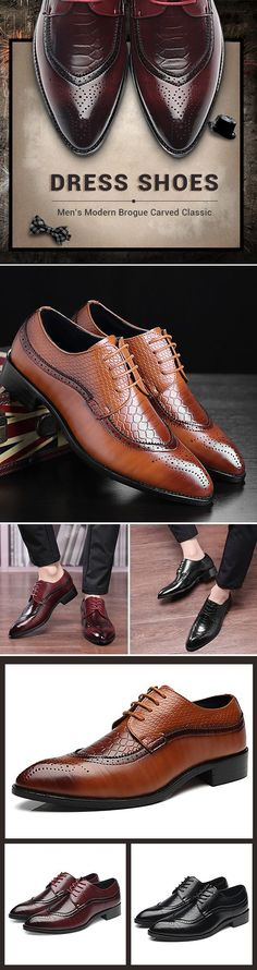 Large Size Men's Modern Brogue Carved Classic Pointed Toe Dress Shoes is designed for the formal occasion, more high-quality men formal shoes are on sale. Formal Shoes For Men, Men Formal, Looks Style, Looks Cool, Big Men Fashion, Fashion Shoes, Fashion Accessories, Fashion Tips, Men Dress