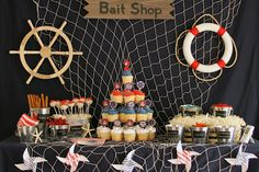 Bait Shop dessert table perfect for a fishing or nautical party - ideas for party food, activities, decorations, and more!