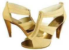 Michael Kors Womens Berkley T Strap Brown Nude Zipper Open-Toe Fashion Heels