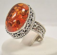 SOLID 925 STERLING SILVER AMBER STONE 5.4g SIZE 8.5 RING 17.5MM LONG X 12.5 WIDE #Solitaire