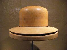 Vintage wooden hat block, brim, mold, millinery