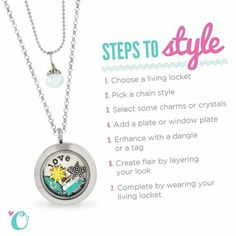"""Origami Owl Steps to Style.Create yours today at www.josjewels.ori... """"like"""" my page and Follow me on Facebook www.facebook.com/... for the latest releases and jewelry creations. Jolene Oesterblad Independent Designer #37299. Join my Team for an exciting new hobby! Make new friends while earning extra cash"""