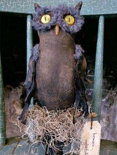 ~Olde Crow's Hill~Primitive Folk Art Black Owl Doll Make-Do Grungy Halloween   eBay
