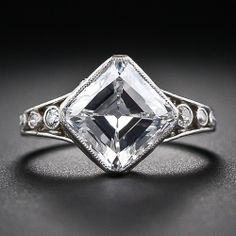 Behold the Holy Grail of diamond engagement rings! Simply put - the finest of its kind. A perfect, and perfectly unique, antique diamond ring from the turn-of-the-twentieth century featuring a 'D'color 'Internally Flawless' early Asscher-Cut (or square emerald cut) Golconda Diamond. Edwardian, possibly Tiffany.