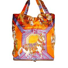 "NIB Hermes Silk "" La Dance Du Cheval Marwari"" Pop-up Tote Bag"
