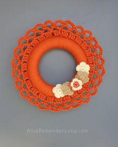 Orange crochet wreath, holiday wreath, fall wreath, winter decor, wall hanging, 15 inches, ready to ship
