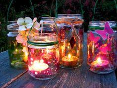 tea lights in jars