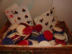 Vintage Poker Chips Cards and Antique Cigar Box Collectible Functional and fun Card Game by WindyMountainDesigns on Etsy https://www.etsy.com/listing/171298676/vintage-poker-chips-cards-and-antique