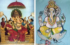 LEFT: Ganesha with Consorts Riddhi and Siddhi, painting by Raja Ravi Varma RIGHT: Ganesha by Odile Moulin
